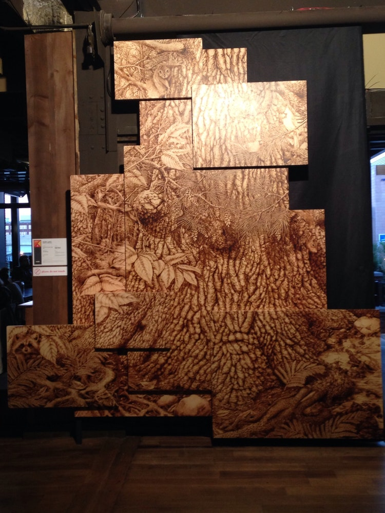 This Exhibit Is A 3 Dimensional Wood Burning Of Great White Pine From Michigans Upper Peninsula Piece Assembled As Collage Connecting Into