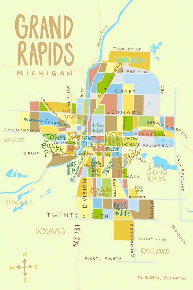 Grand Rapids Mi Map Kate Dupre   Illustrated Grand Rapids Map   ArtPrize Entry Profile  Grand Rapids Mi Map